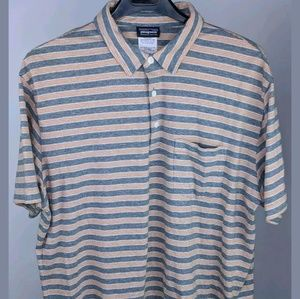 Patagonia Large Polo Shirt Striped Organic Cotton